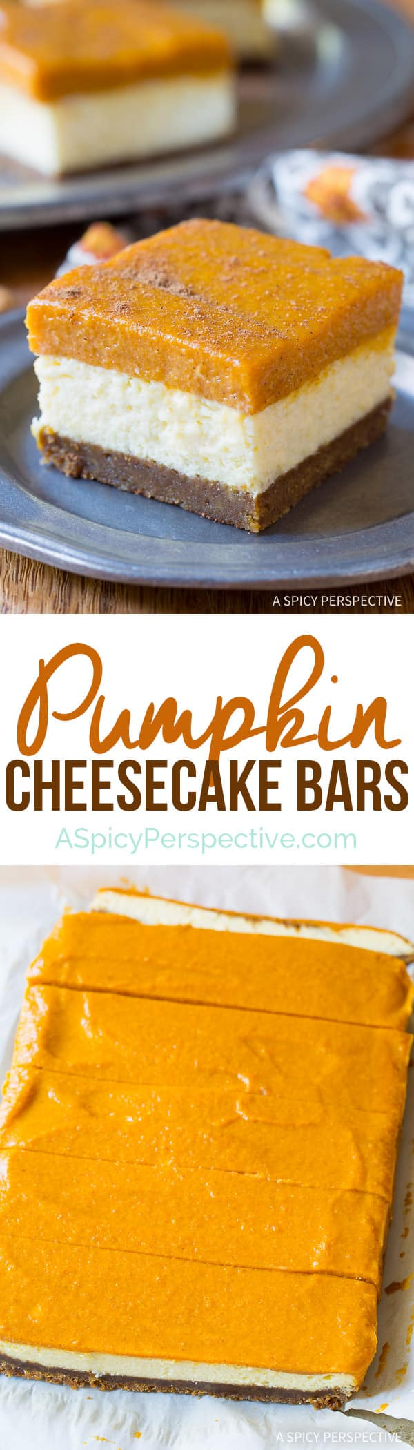 You will not believe these amazing Layered Pumpkin Cheesecake Bars on ASpicyPerspective.com