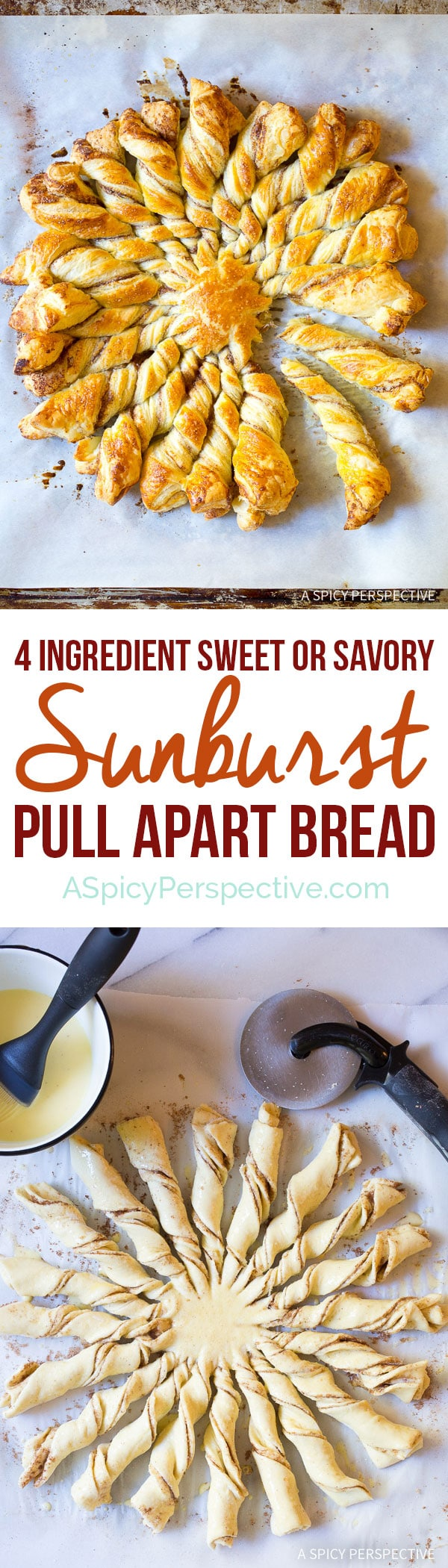 Great for the Holidays! Easy 4-Ingredient Sunburst Pull Apart Bread on ASpicyPerspective.com