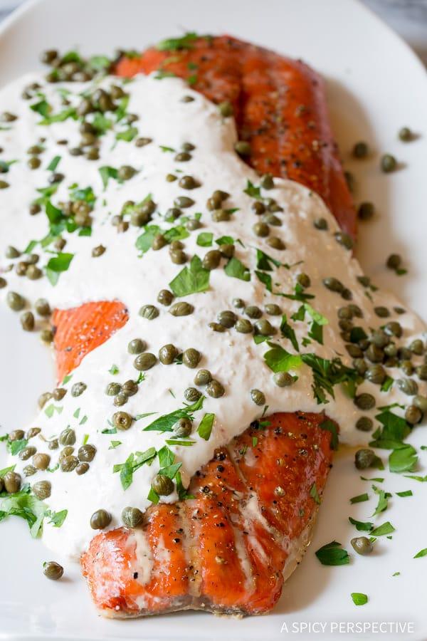 Best Smoky Baked Salmon Recipe with Creamy Horseradish Sauce on ASpicyPerspective.com #holiday