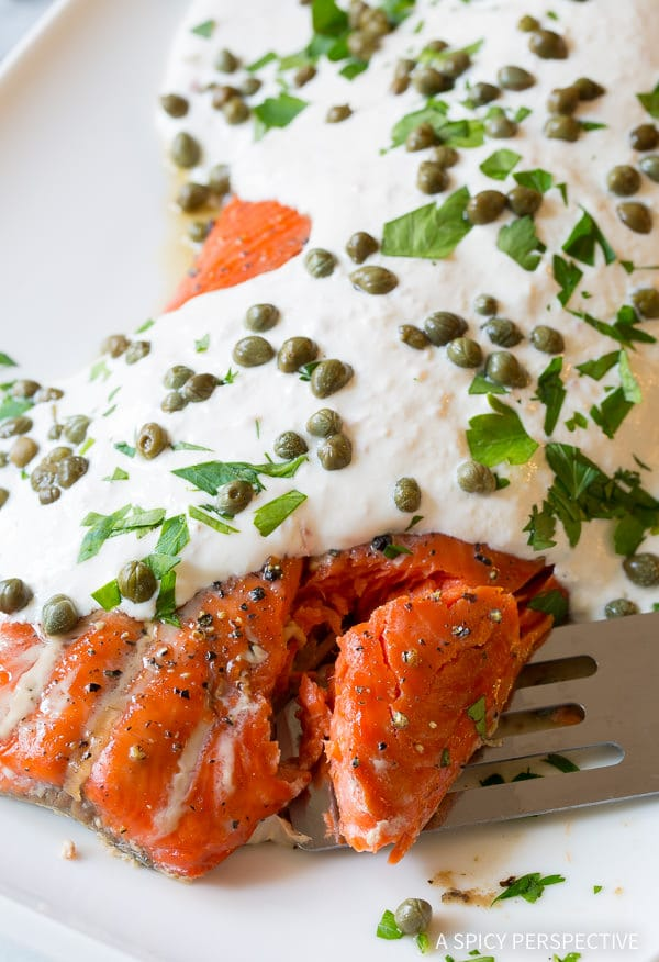 Must-Make 10-Ingredient Smoky Baked Salmon Recipe with Creamy Horseradish Sauce on ASpicyPerspective.com #holiday