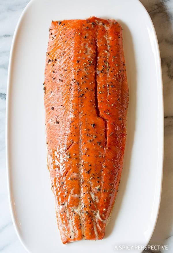 10-Ingredient Smoky Baked Salmon Recipe with Creamy Horseradish Sauce on ASpicyPerspective.com #holiday