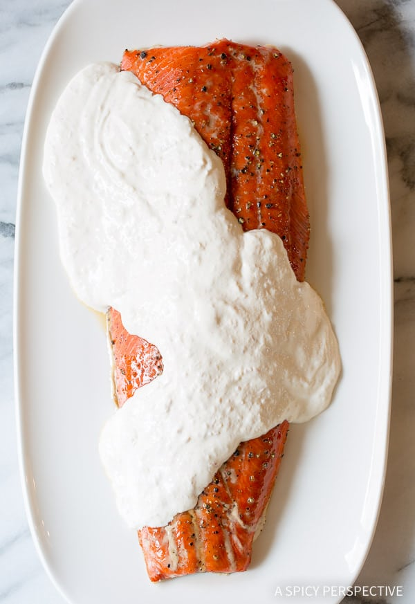 Fabulous Smoky Baked Salmon Recipe with Creamy Horseradish Sauce on ASpicyPerspective.com #holiday