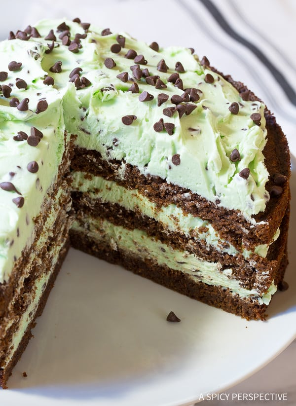 Dying over this Brownie Cake with Mint Chip Frosting... Eeek!! On ASpicyPerspective.com #christmas #holidays