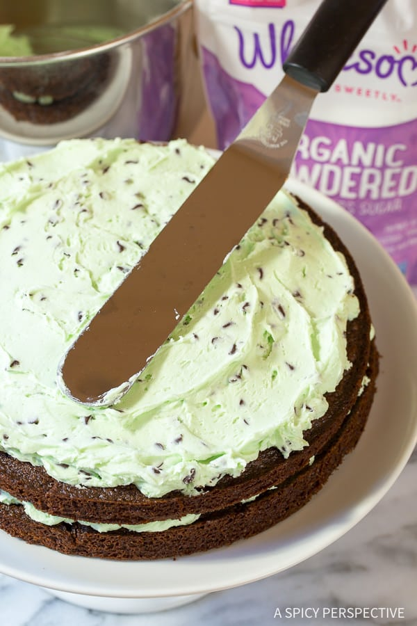 Crazy over this Brownie Cake with Mint Chip Frosting... Eeek!! On ASpicyPerspective.com #christmas #holidays