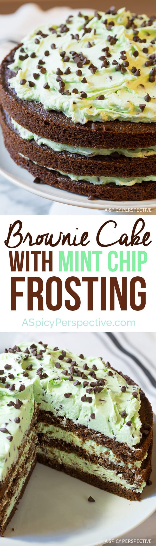 Celebrate the season with Brownie Cake with Mint Chip Frosting... Eeek!! On ASpicyPerspective.com #christmas #holidays