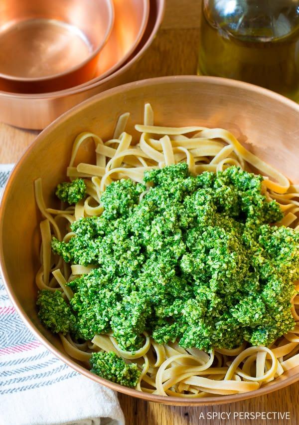 Crazy for Kale - 5-Ingredient 5-Minute Kale Pesto Recipe on ASpicyPerspective.com #paleo #glutenfree #vegan