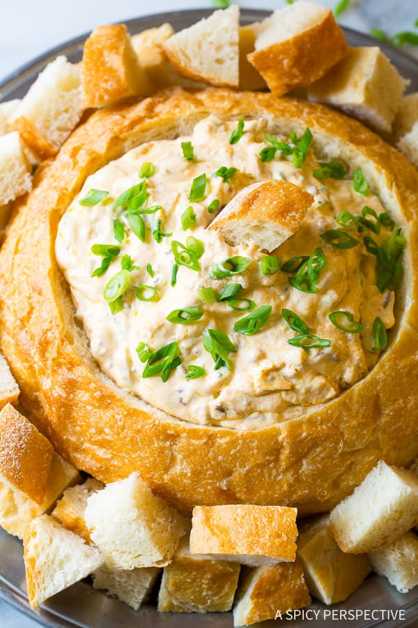 Creamy Sausage Cheese Dip on ASpicyPerspective.com - An easy to make hot dip with green chiles and sharp cheddar cheese!
