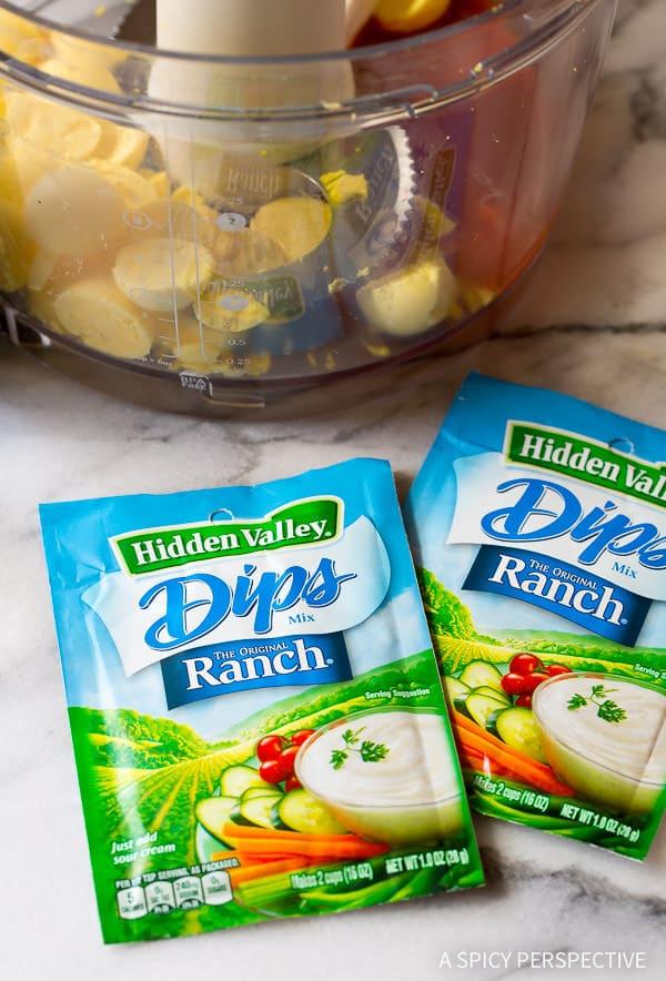 Making 6-Ingredient Buffalo Ranch Deviled Eggs Recipe | ASpicyPerspective.com