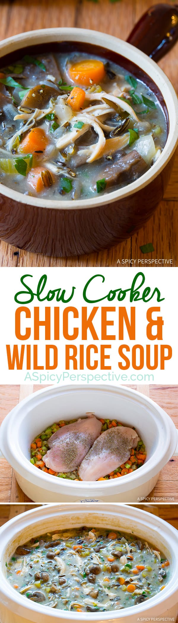 Perfect for January Diets! Healthy Slow Cooker Chicken Wild Rice Soup (Low Fat, Gluten Free, Dairy Free)   ASpicyPerspective.com