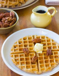 Crispy Spelt Waffles | ASpicyPerspective.com