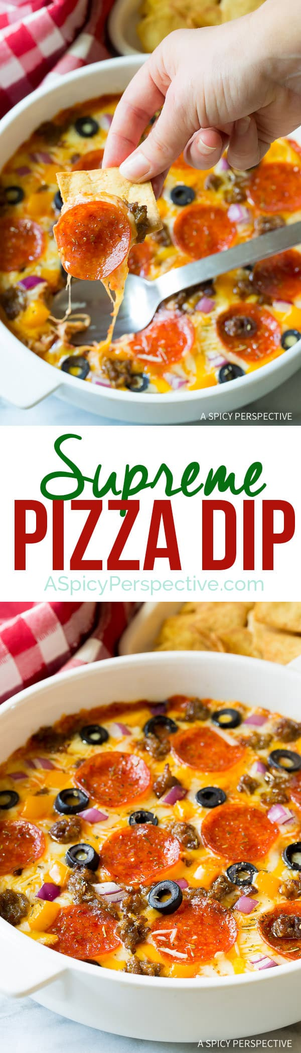 Try this easy 10-Ingredient Supreme Pizza Dip - Perfect for Super Bowl and can be made in the slow cooker!   ASpicyPerspective.com