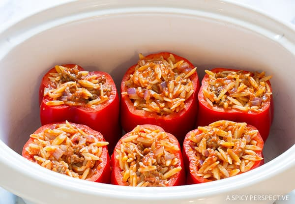 Making PIZZA Stuffed Peppers (Great for Super Bowl!) | ASpicyPerspective.com