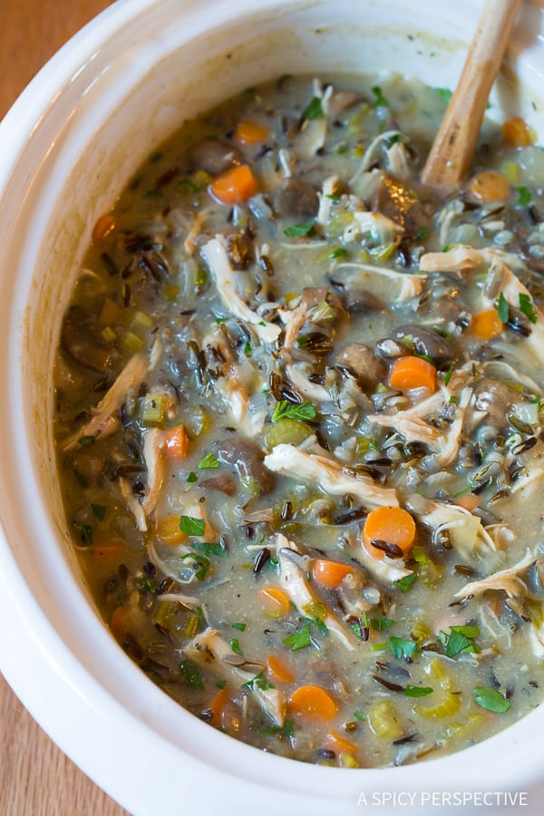 Favorite Healthy Slow Cooker Chicken Wild Rice Soup (Low Fat, Gluten Free, Dairy Free)   ASpicyPerspective.com