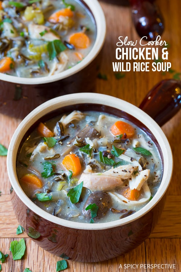 Crazy Over This Healthy Slow Cooker Chicken Wild Rice Soup (Low Fat, Gluten Free, Dairy Free)   ASpicyPerspective.com