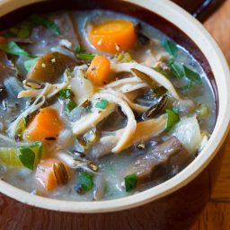 The Best Healthy Slow Cooker Chicken Wild Rice Soup (Low Fat, Gluten Free, Dairy Free) | ASpicyPerspective.com