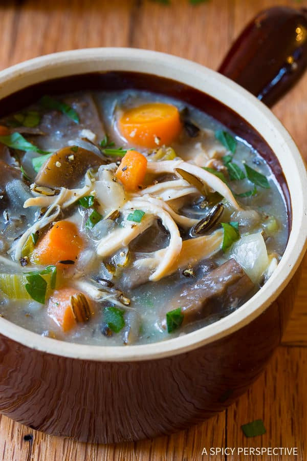 The Best Healthy Slow Cooker Chicken Wild Rice Soup (Low Fat, Gluten Free, Dairy Free)   ASpicyPerspective.com