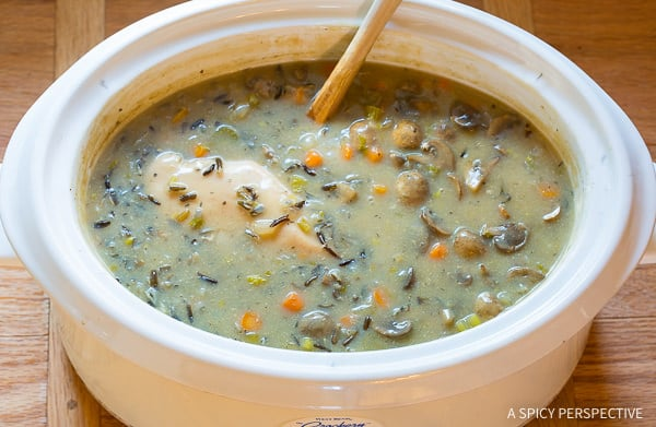 Healthy & Easy Slow Cooker Chicken Wild Rice Soup (Low Fat, Gluten Free, Dairy Free)   ASpicyPerspective.com