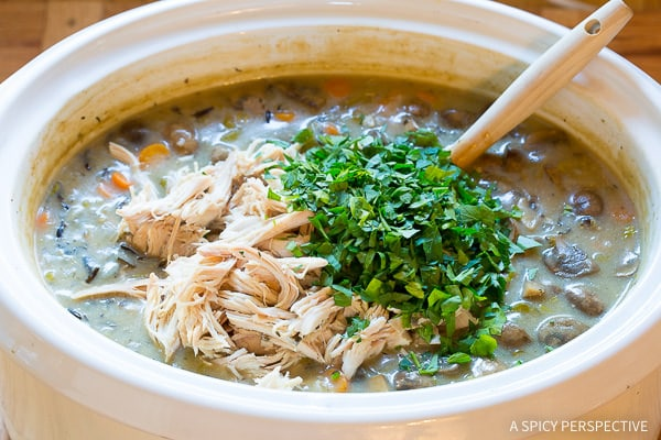 Love this Healthy Slow Cooker Chicken Wild Rice Soup (Low Fat, Gluten Free, Dairy Free)   ASpicyPerspective.com