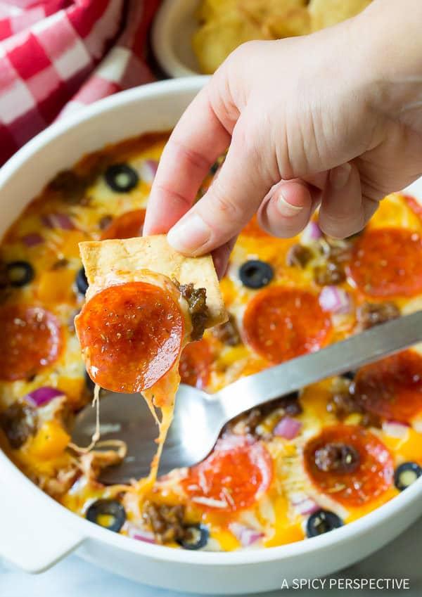 10-Ingredient Supreme Pizza Dip - Perfect for Super Bowl!   ASpicyPerspective.com