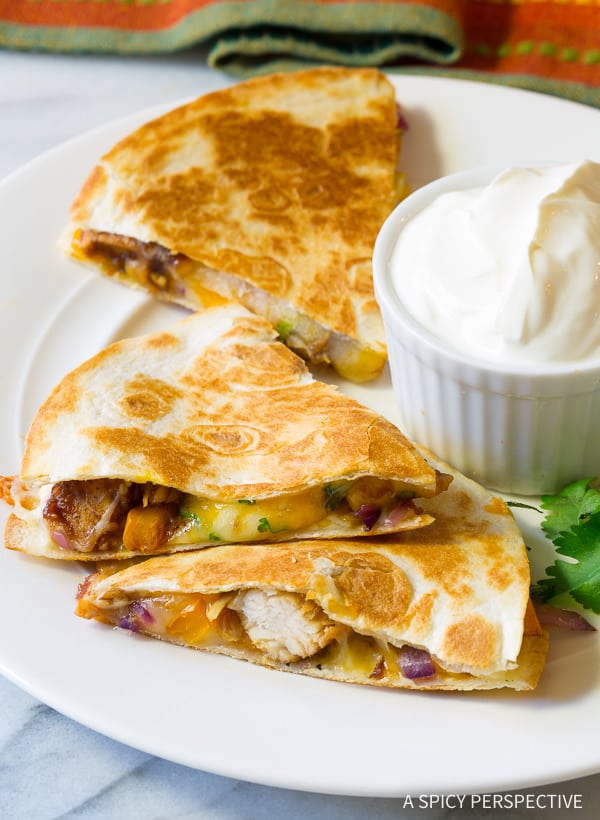 TDF 10-Ingredient Sweet and Tangy Chicken Quesadillas Recipe | ASpicyPerspective.com