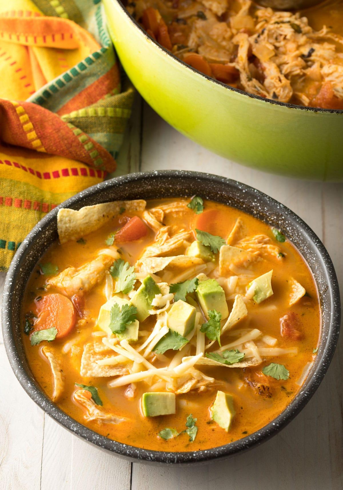Best Chicken Tortilla Soup Recipe #ASpicyPerspective  #instantpot #slowcooker