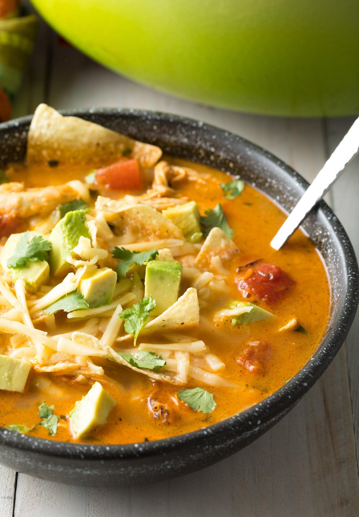The Best Easy Chicken Tortilla Soup Recipe #ASpicyPerspective  #instantpot #slowcooker