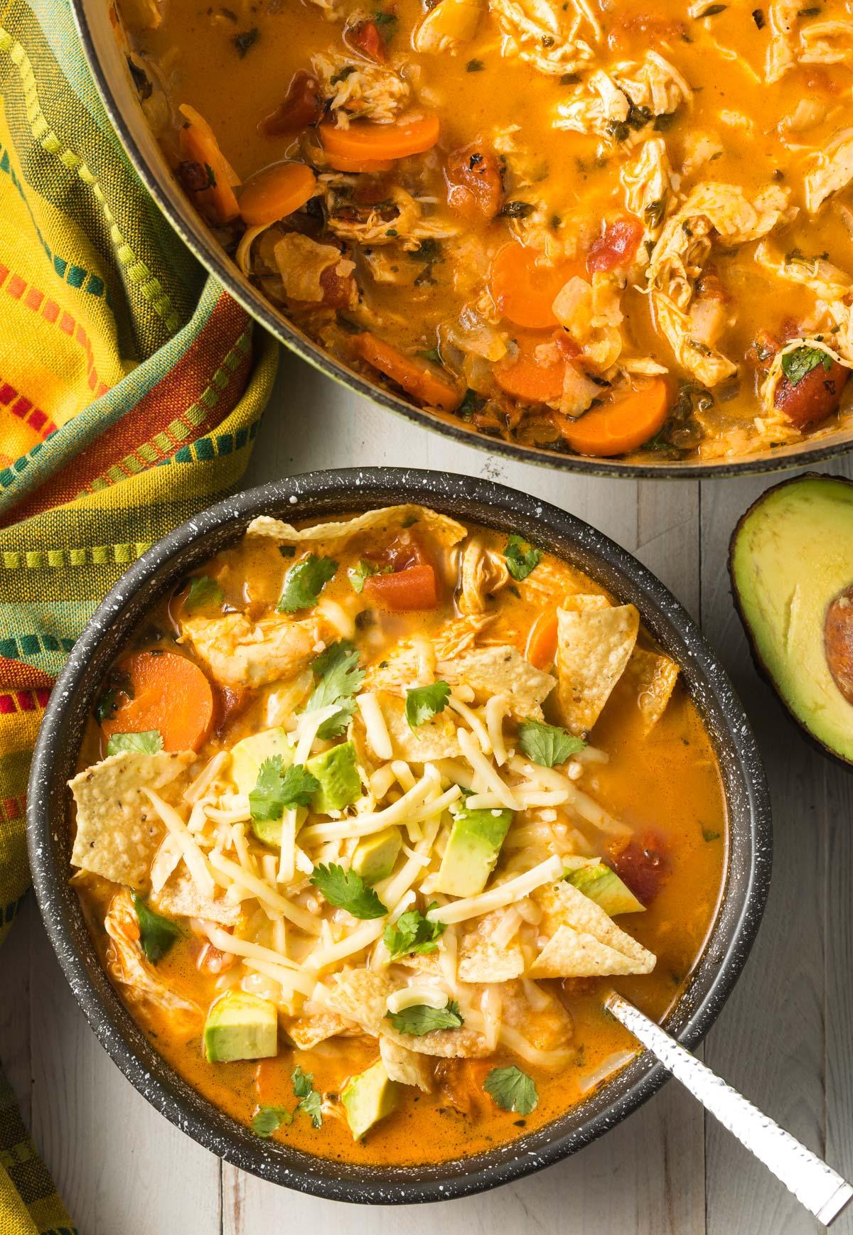 The Best Chicken Tortilla Soup Recipe #ASpicyPerspective #instantpot #slowcooker