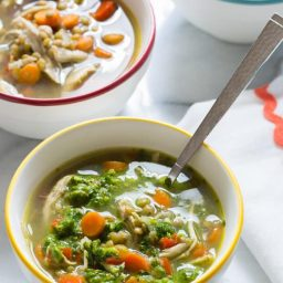 Slow Cooker Chimichurri Chicken Lentil Soup   ASpicyPerspective.com
