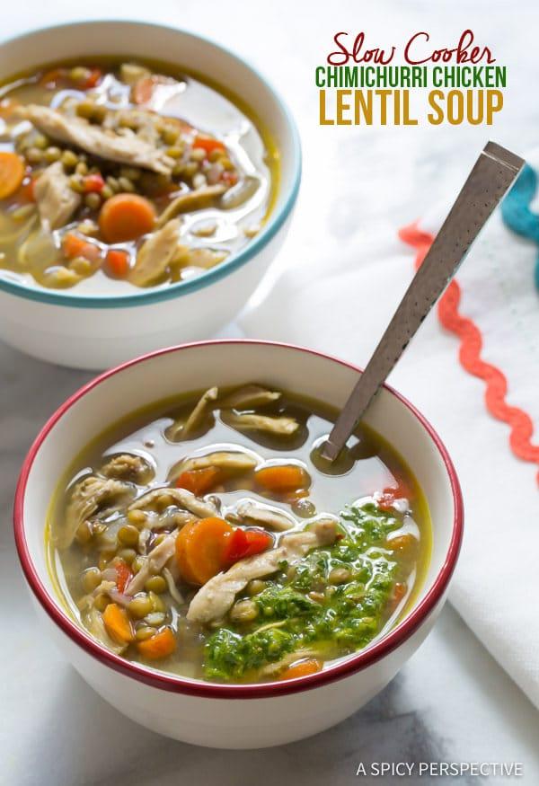 Cozy Slow Cooker Chimichurri Chicken Lentil Soup   ASpicyPerspective.com