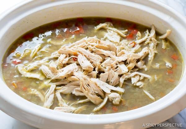 Simple Slow Cooker Chimichurri Chicken Lentil Soup   ASpicyPerspective.com