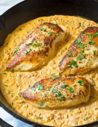 Healthy & Creamy Roasted Red Pepper Chicken Skillet Recipe | ASpicyPerspective.com