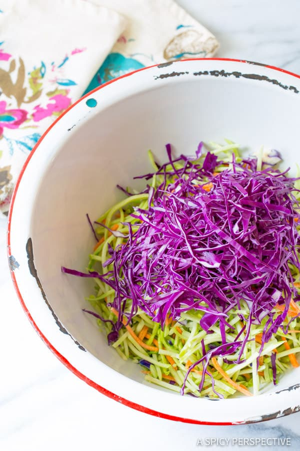 Making Crunchy Asian Slaw Recipe with Peanut Dressing | ASpicyPerspective.com