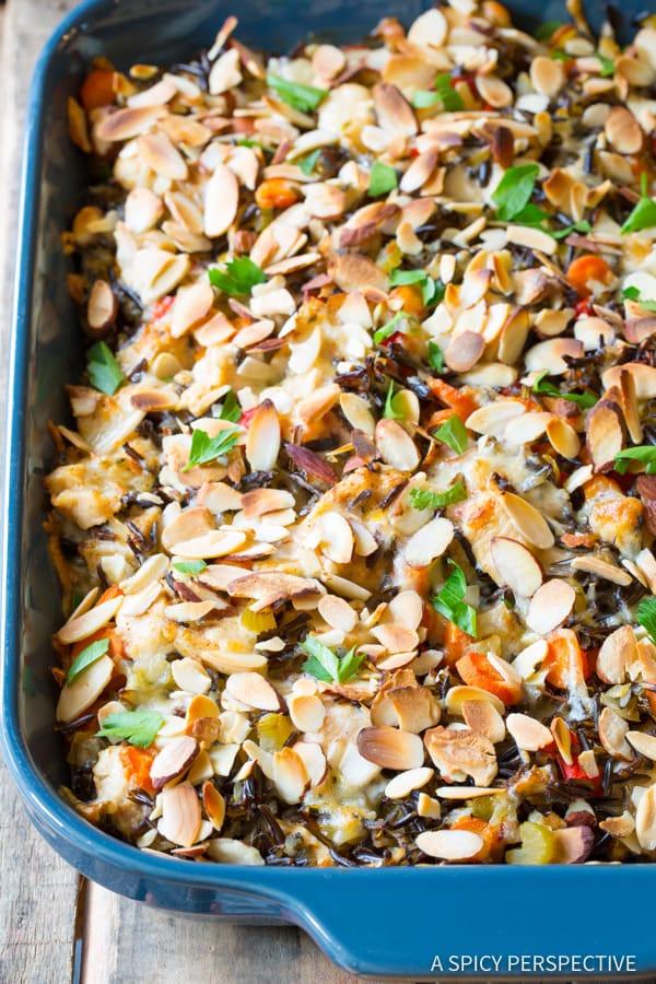 The Best Cheesy Chicken Wild Rice Casserole (Gluten Free!)   ASpicyPerspective.com