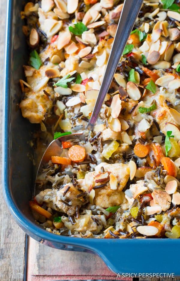 Cheesy Chicken Wild Rice Casserole (Gluten Free!)   ASpicyPerspective.com