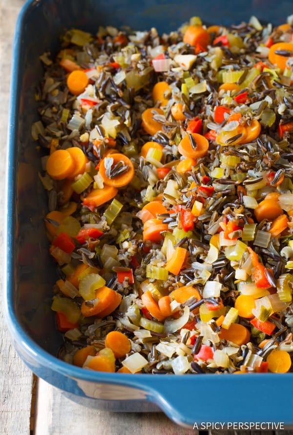 How to Make Cheesy Chicken Wild Rice Casserole (Gluten Free!)   ASpicyPerspective.com