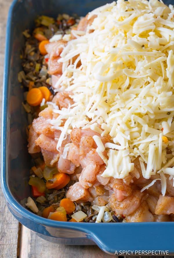 How To: Cheesy Chicken Wild Rice Casserole (Gluten Free!)   ASpicyPerspective.com
