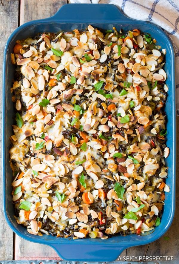 Awesome Cheesy Chicken Wild Rice Casserole (Gluten Free!)   ASpicyPerspective.com