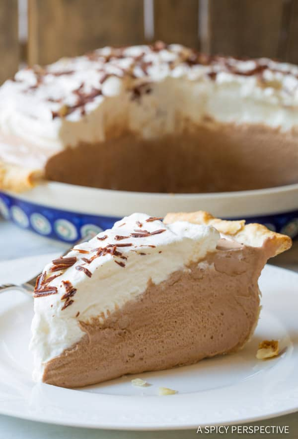 French Silk Pie #ASpicyPerspective #FrenchSilkPie #SilkPie #FrenchSilkPieRecipe #ChocolateSilkPie #Chocolate #Silky #Fluffy #Pie #Dessert