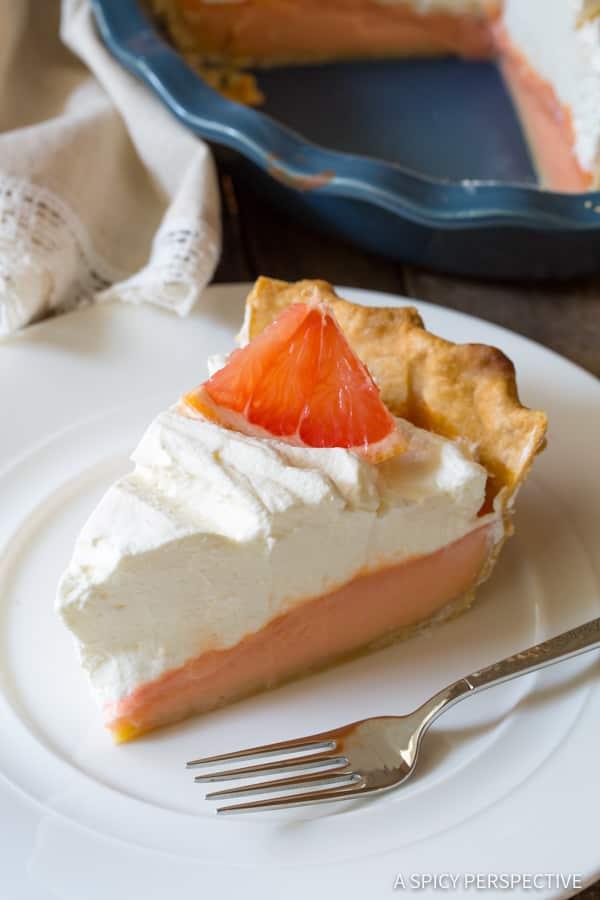 Vibrant Grapefruit Cream Pie   ASpicyPerspective.com