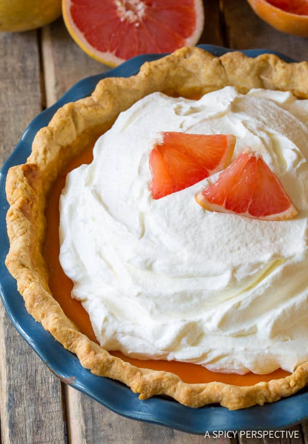 Easy to Make Grapefruit Cream Pie   ASpicyPerspective.com