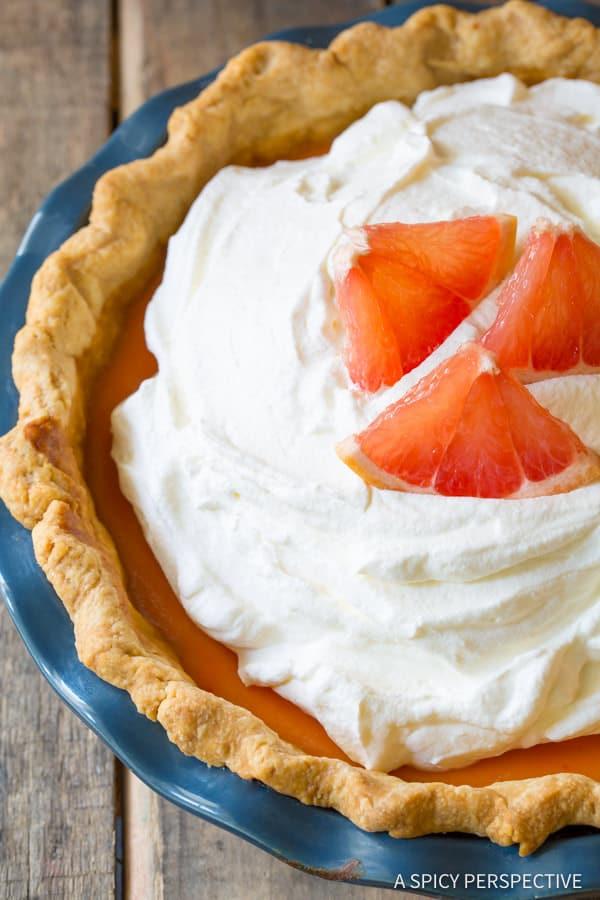 Pink Grapefruit Cream Pie   ASpicyPerspective.com