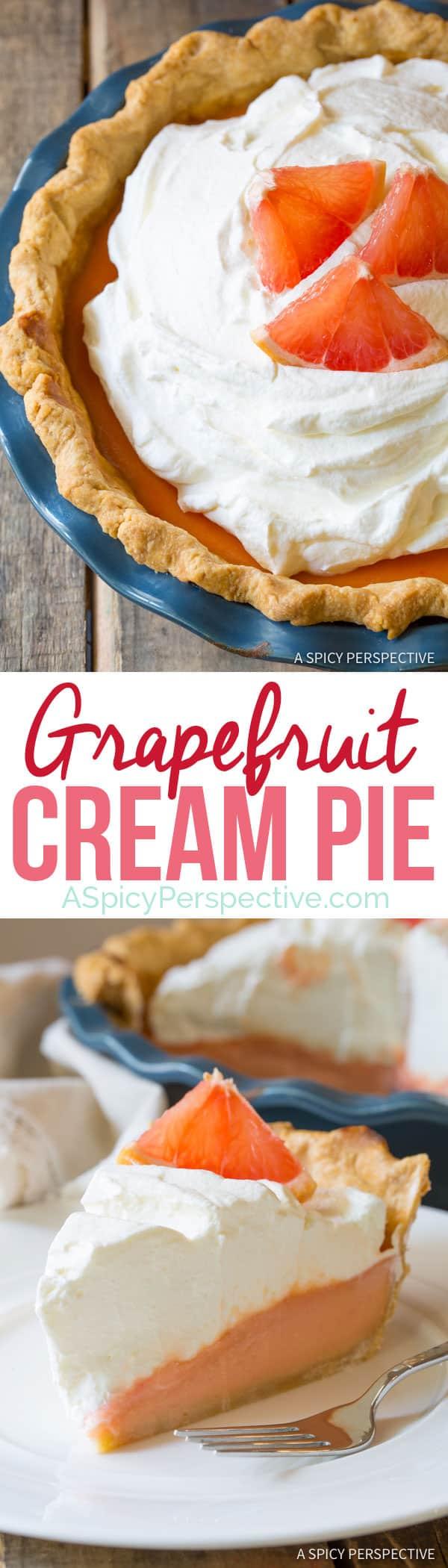 Ruby Red Grapefruit Cream Pie   ASpicyPerspective.com