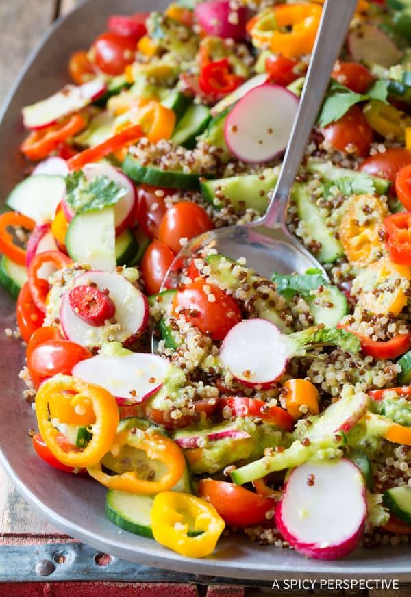 Chunky Quinoa Salad Recipe with Green Chile Dressing (Vegan & Gluten Free!)   ASpicyPerspective.com