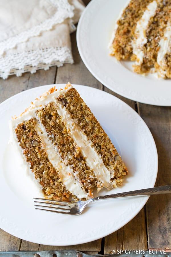 Carrot Cake Recipe #ASpicyPerspective #CarrotCake #Cake #Carrots  #CarrotCakeRecipe #BestCarrotCakeRecipe #Dessert #Coconut #CreamCheeseFrosting #Easter #Spring