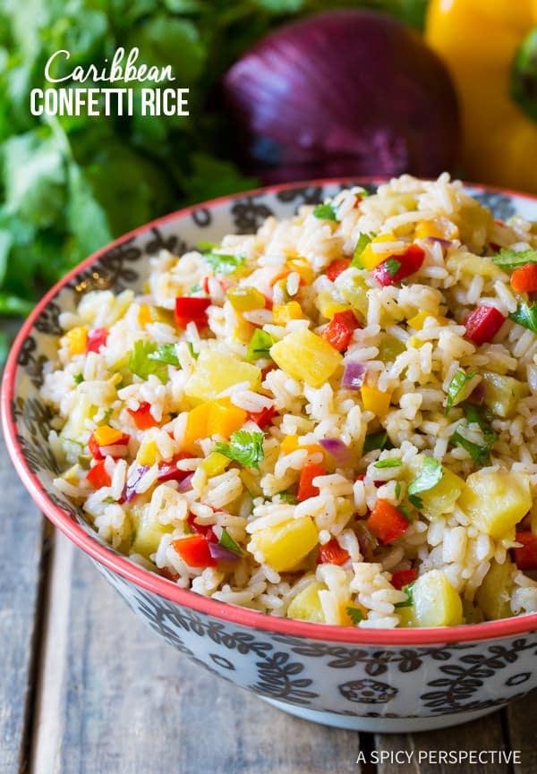 Caribbean Rice #ASpicyPerspective #Rice #Caribbean #CaribbeanRice #CaribbeanRiceRecipe #ConfettiRice #SideDish #Jalapenos #Pineapple #BellPeppers #CoconutMilk