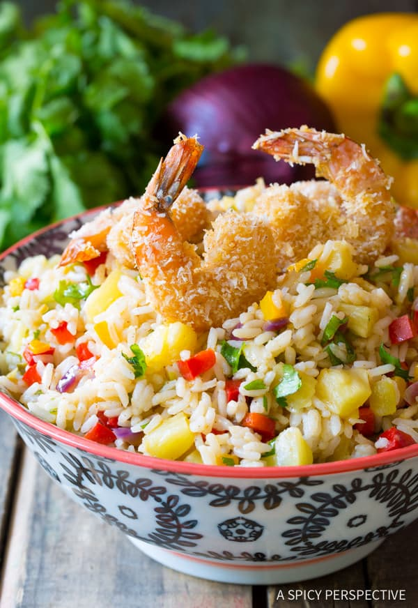 Caribbean Confetti Rice #ASpicyPerspective #Rice #Caribbean #CaribbeanRice #CaribbeanRiceRecipe #ConfettiRice #SideDish #Jalapenos #Pineapple #BellPeppers #CoconutMilk