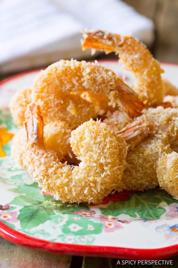 Healthy Baked Paleo Coconut Shrimp Recipe (Pina Colada Shrimp & Gluten Free!) | ASpicyPerspective.com