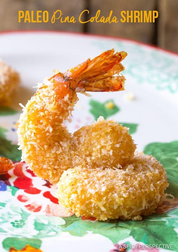 Crunchy Baked Paleo Coconut Shrimp Recipe (Pina Colada Shrimp & Gluten Free!) | ASpicyPerspective.com