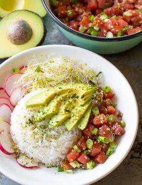 Hawaiian Ahi Poke Bowl Recipe (Gluten Free)| ASpicyPerspective.com