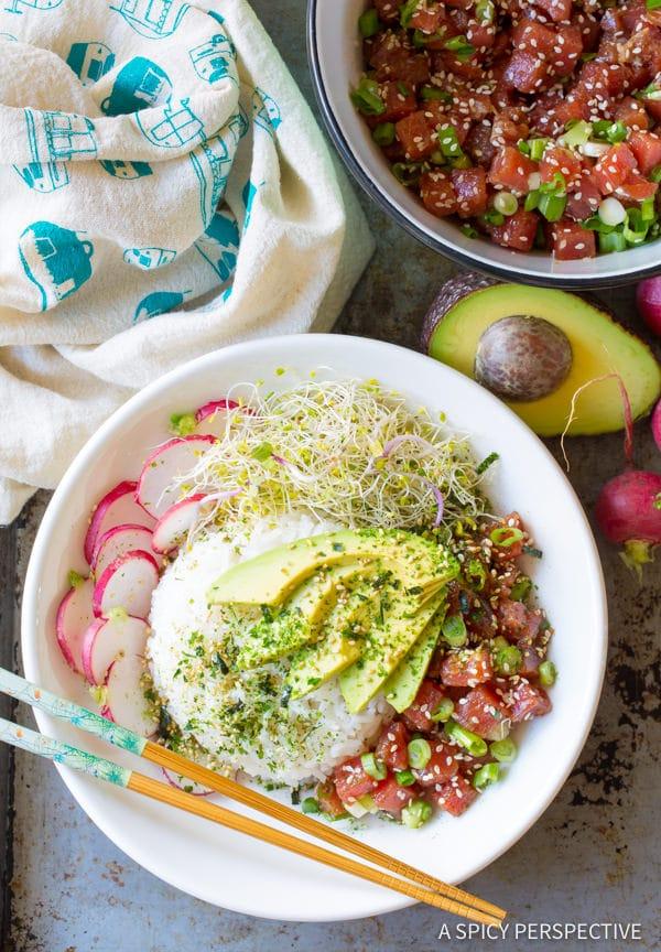 Hawaiian Ahi Poke Bowl Recipe #ASpicyPerspective #PokeBowl #AhiPokeBowl #PokeBowlRecipe #TunaPokeBowl #GlutenFree #HawaiianPoke #Summer #Spring #Dinner
